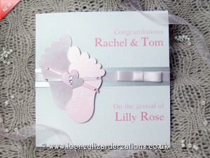 pink feet new baby card