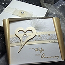 'Crystal Cream' Handmade Luxury Anniversary Card