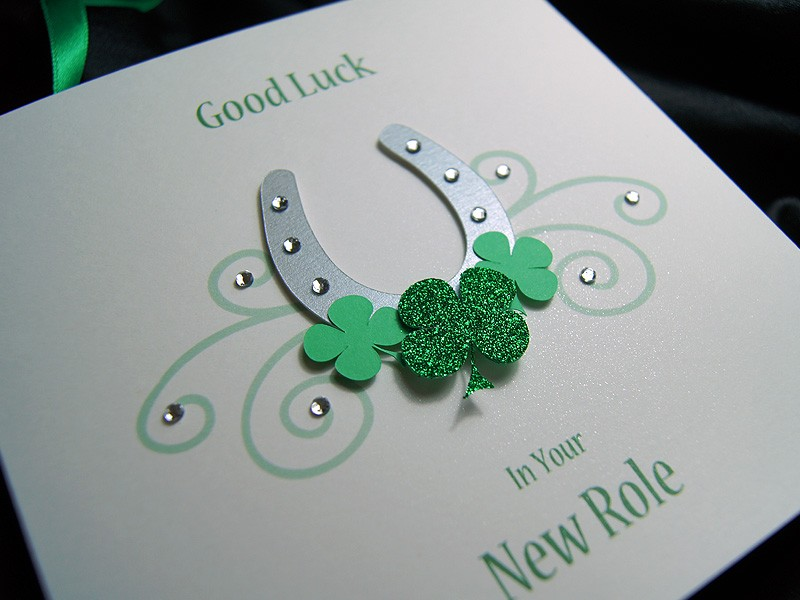 Lucky Horseshoe Handmade Good Luck Card