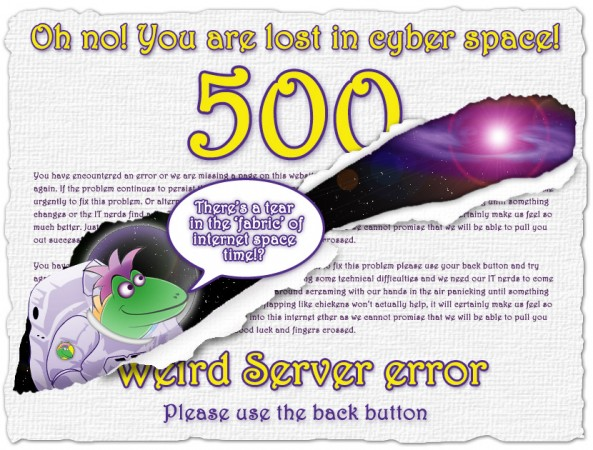 505 server error lizard lost in space