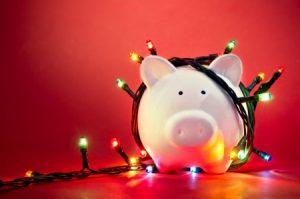 piggy bank with fairylights