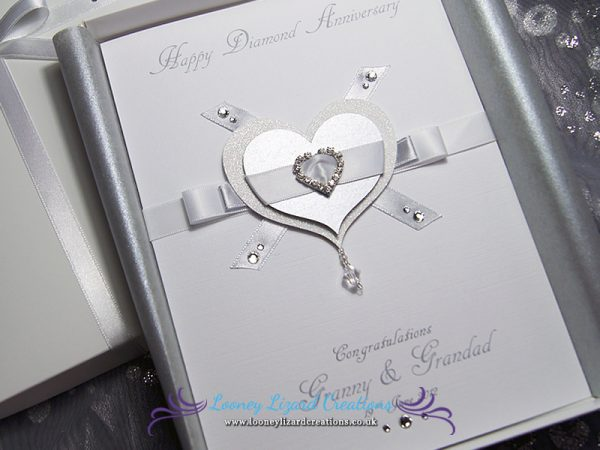 Glitter heart with ribbon detail and heart shaped diamante buckle