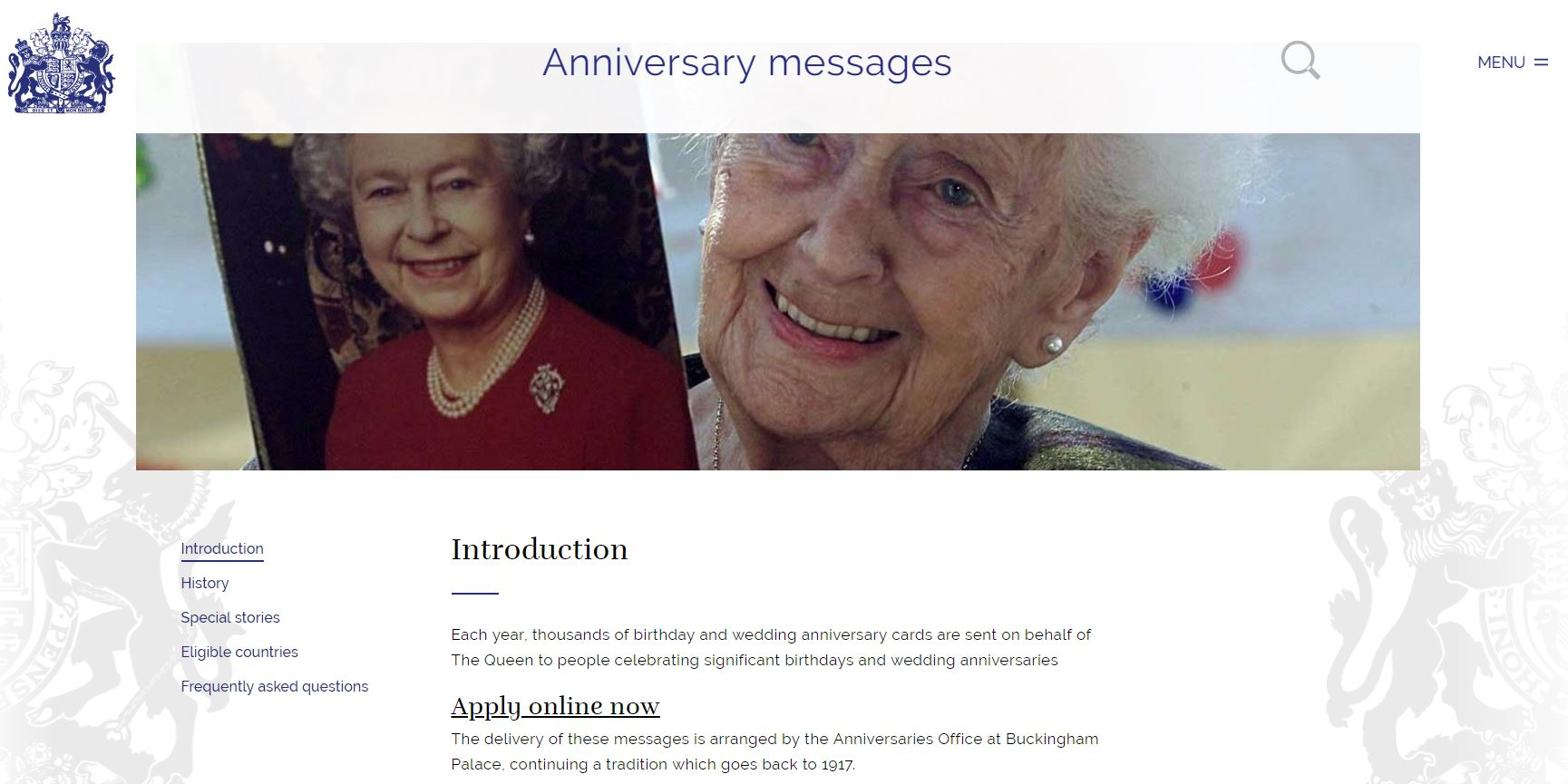 Webpage for applying for queens anniversary message