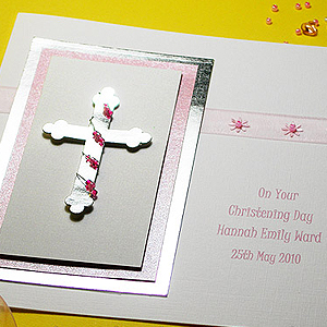 Picture featuring a Christening card