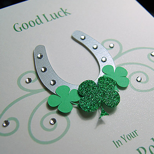 Picture featuring a Good Luck card