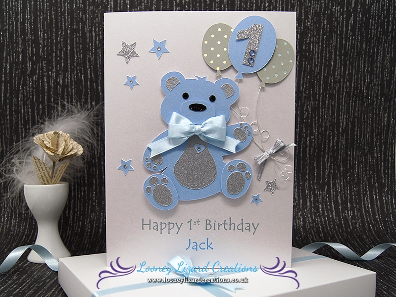 Remarkable Birthday Bear Luxury Handmade 1St Birthday Card Personalised Birthday Cards Veneteletsinfo