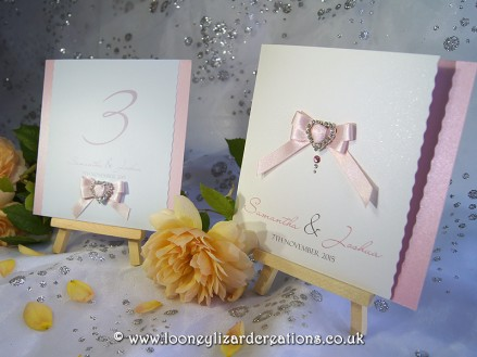 Alice Wedding Collection. Invitation shown in rose pink with natural white smooth sparkle base.
