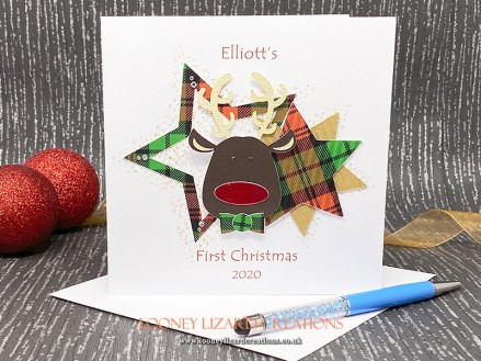 Baby Reindeer - with crystal eyes, tartan dicky bow and a sparkly red nose.