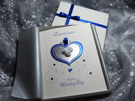 Cinderella Blue - Luxury Wedding Card with decorated box