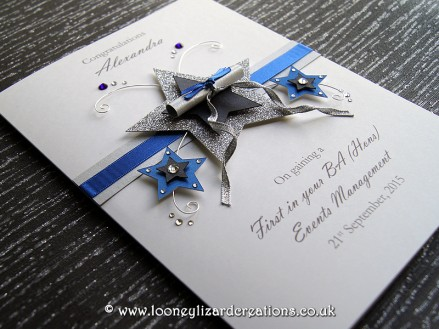 Dedication: Personalised luxury graduation card, handmade to order and personalised with their graduation details.