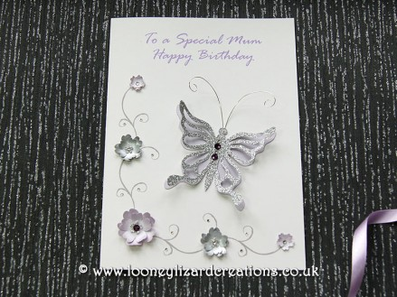 Grace - Luxury handmade birthday card, featuring a larger butterfly with wire and crystal detail.