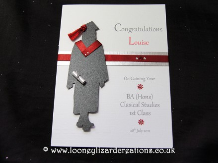 The Graduate: Features a silhouette of a female in graduation cap and gown with matching red tassel and hood, with degree scroll. Can be fully personalised.