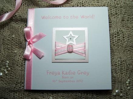 Little Star Pink - Handmade New Baby Girl card