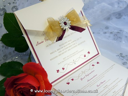 Matilda Wedding Collection: Shown here in gold & burgundy