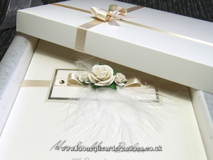 Monica: Shown here in ivory with hand-decorated box.