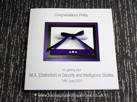 Oxford - Handmade Graduation card in Purple and Black