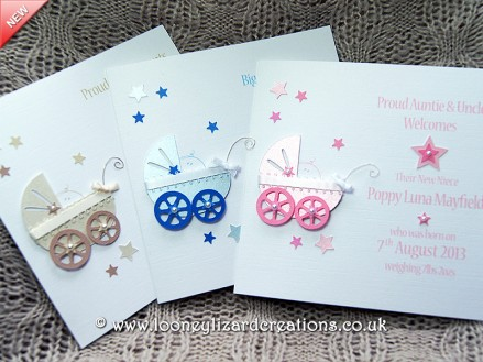 Three baby pram cards in each available colour