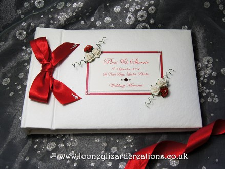 Romance: Featuring tiny red & white roses and swarovski crystals