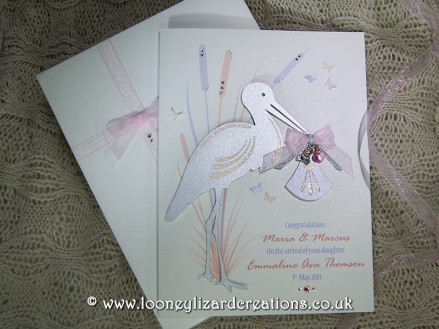 Special Delivery - Luxury Handmade New Baby Card - Available in pink and purple
