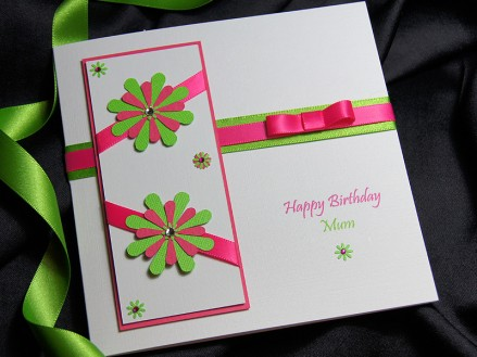 Tahiti hot pink and lime - Handmade birthday card