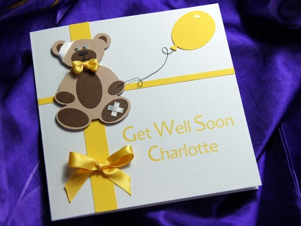 Teddy bear get well soon card