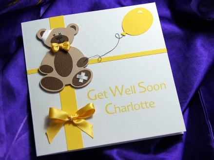 Teddy bear get well soon card