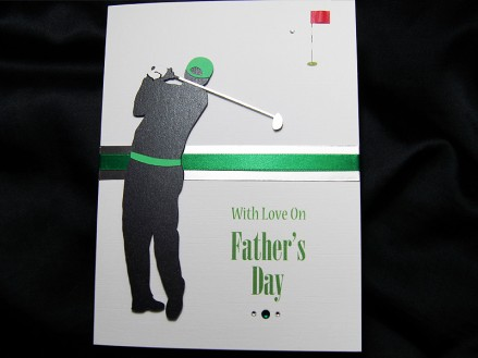 The Golfergolfer is sporting his golfing iron, baseball cap and golfing glove.