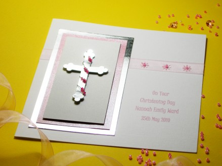 Zara pink girl christening card