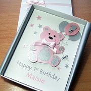Birthday Bear - Luxury Handmade 1st Birthday Card