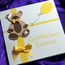 Product shot for: 'Buttercup Bear' Handmade Get Well Soon Card