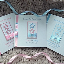 Product shot for: Two Little Stars - Handmade New Baby Card (Twins)