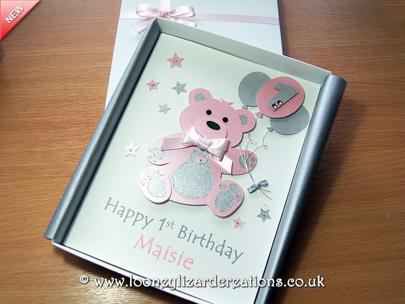 Birthday Bear Luxury Handmade 1st Birthday Card