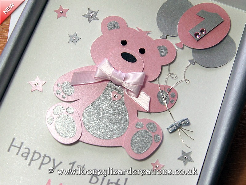Birthday Bear Luxury Handmade 1st Birthday Card – Handmade Luxury Birthday Cards
