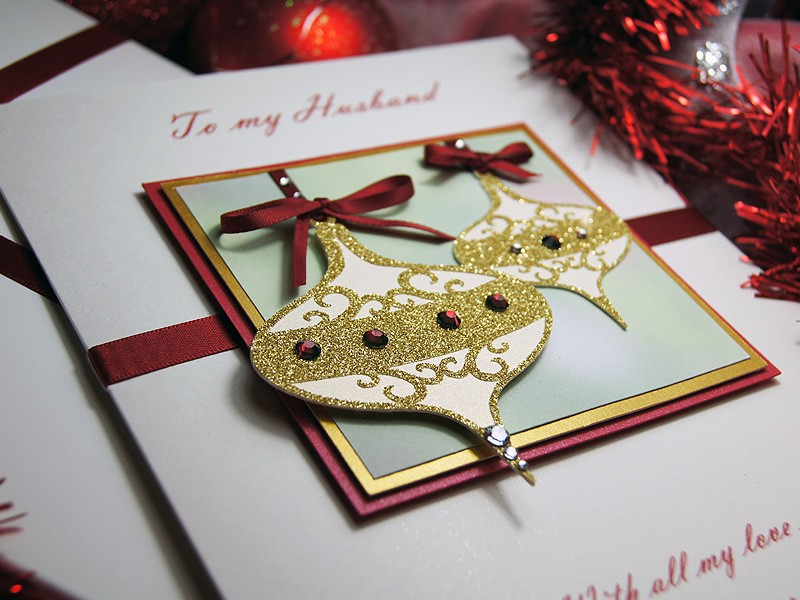 christmas baubles luxury handmade christmas card
