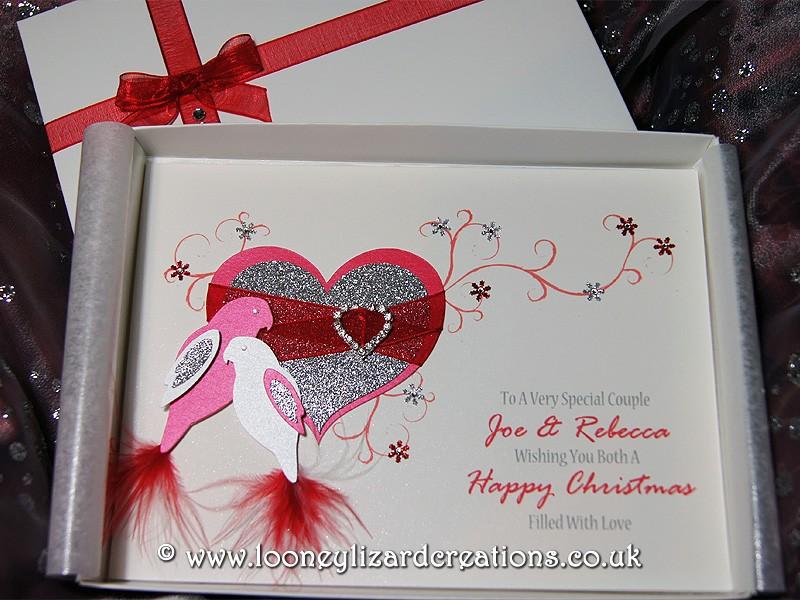 Christmas duet luxury handmade christmas card christmas duet featuring two lovebirds m4hsunfo