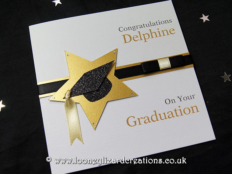 star achievement handmade graduation card available in gold
