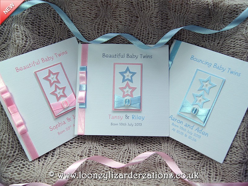 Two Little Stars Handmade New Baby Card Twins