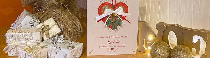 Hanging heart card with mistletoe bunch - handmade to order