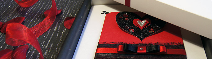 valentine card design, featuring folded hearts, ribbon, crystal and glitter detail