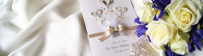 boxed wedding card featuring two white roses with diamanté heart