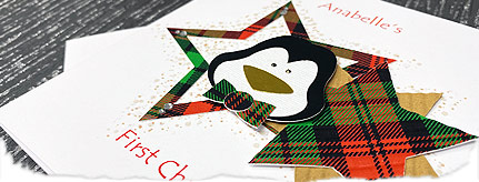 Baby penguin first christmas card